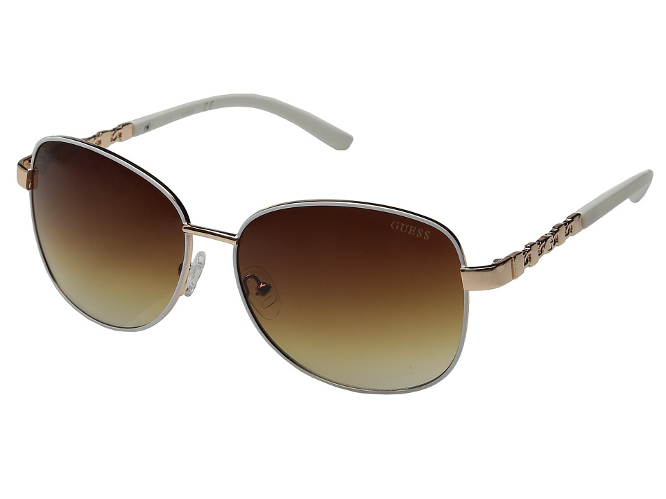 GUESS - GF0265 (Rose Gold/White/Brown Gradient Lens) Fashion Sunglasses