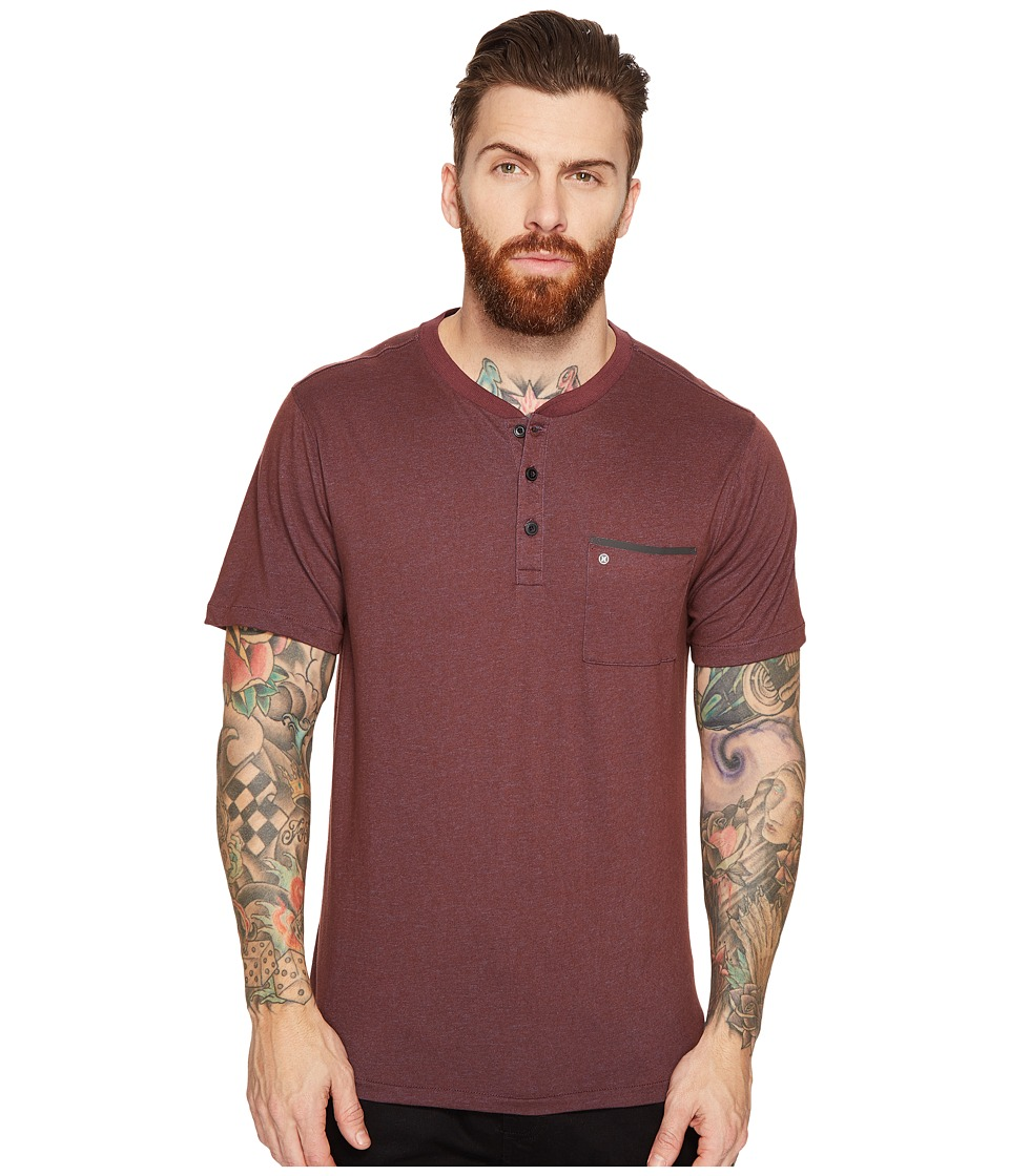 Hurley - Lagos Dri-Fit Lagos Henley (Mahogany) Men's Clothing