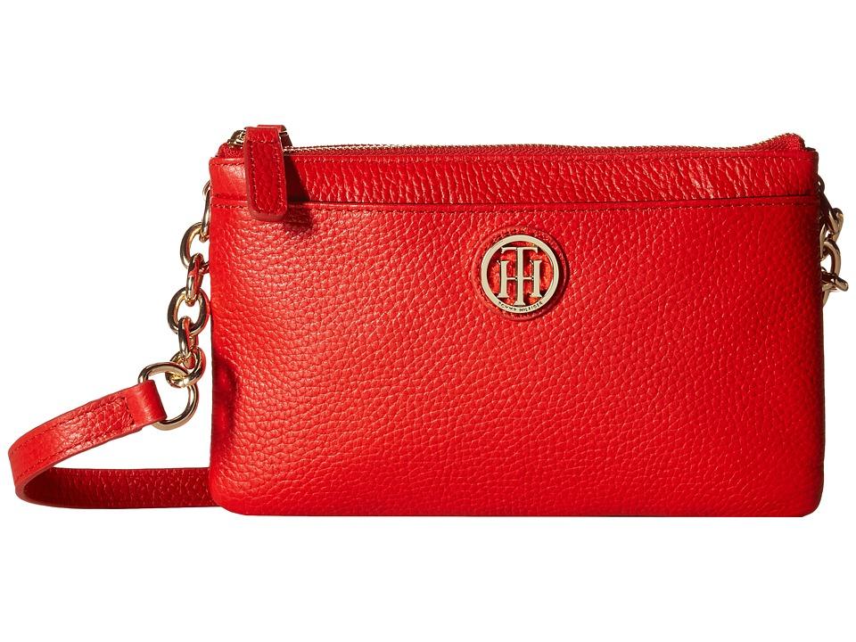Tommy Hilfiger - Double Zip Crossbody - Pebble Leather (Fiery Red) Cross Body Handbags
