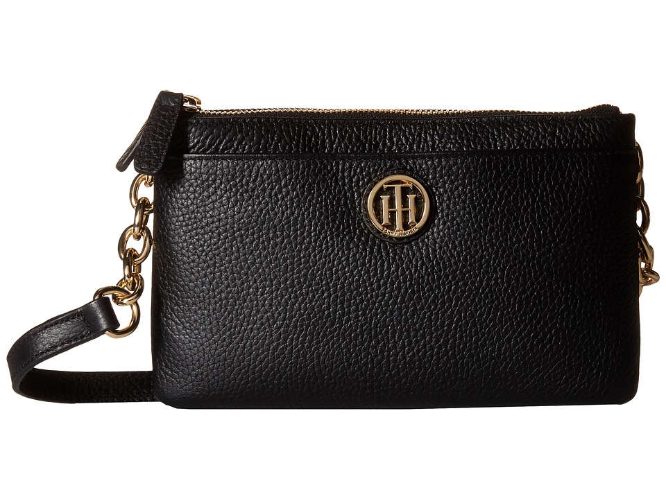 Tommy Hilfiger - Double Zip Crossbody - Pebble Leather (Black) Cross Body Handbags