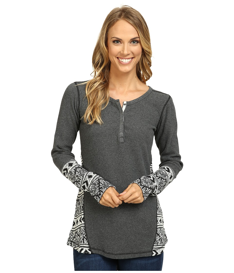 Hatley - Waffle Knit Henley (Charcoal) Women's Clothing