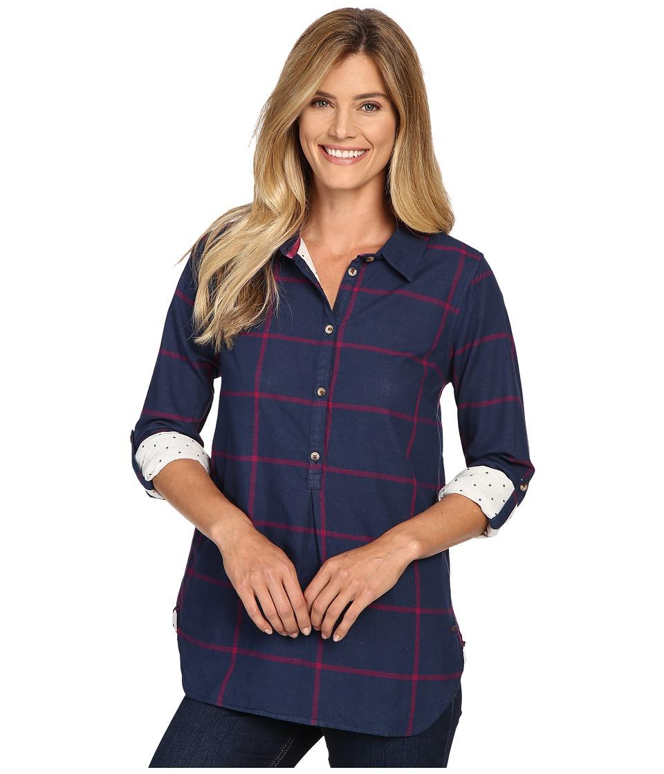 Hatley - Bonded Plaid Pop Over Shirt (Navy/Burgundy) Women's Clothing