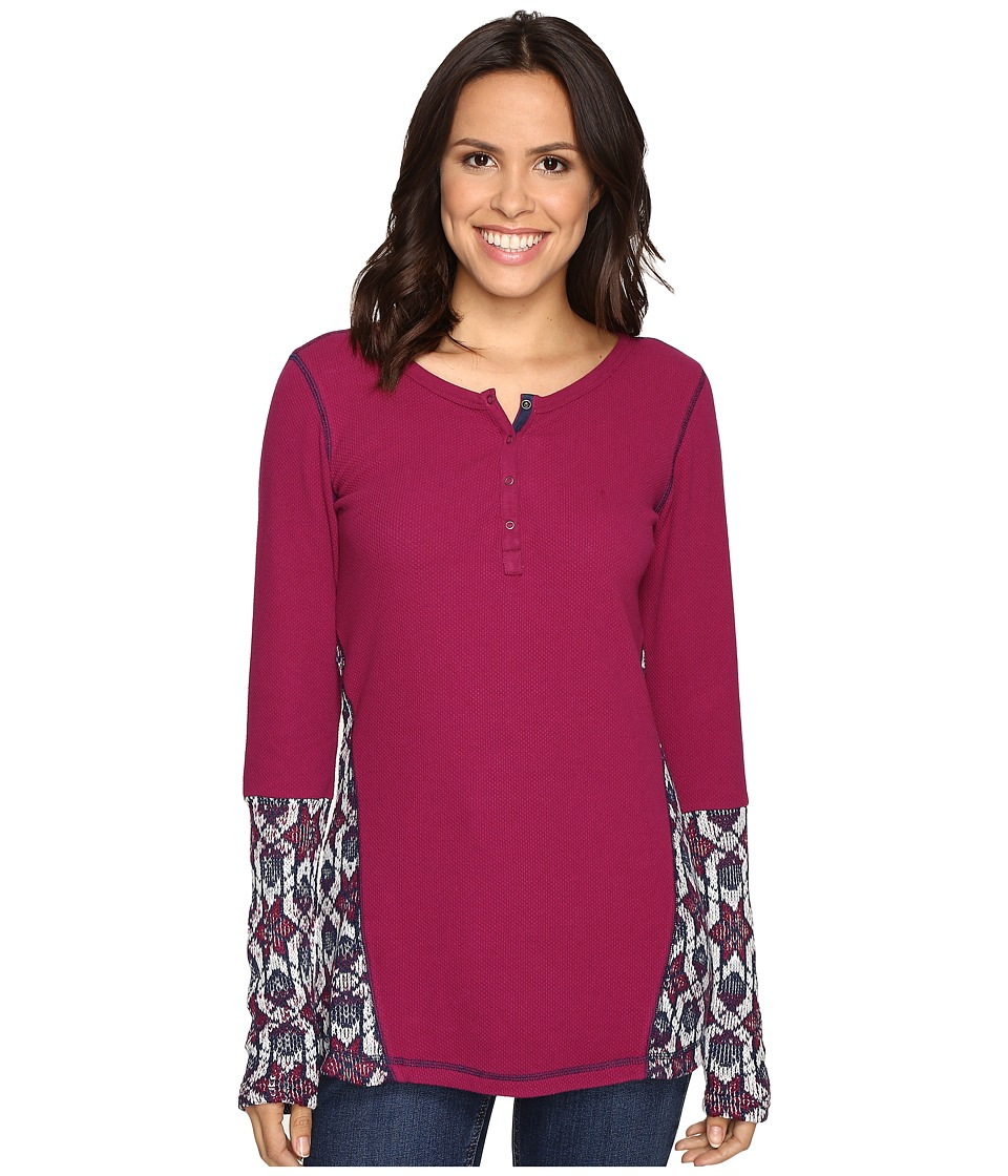 Hatley - Waffle Knit Henley (Burgundy) Women's Clothing