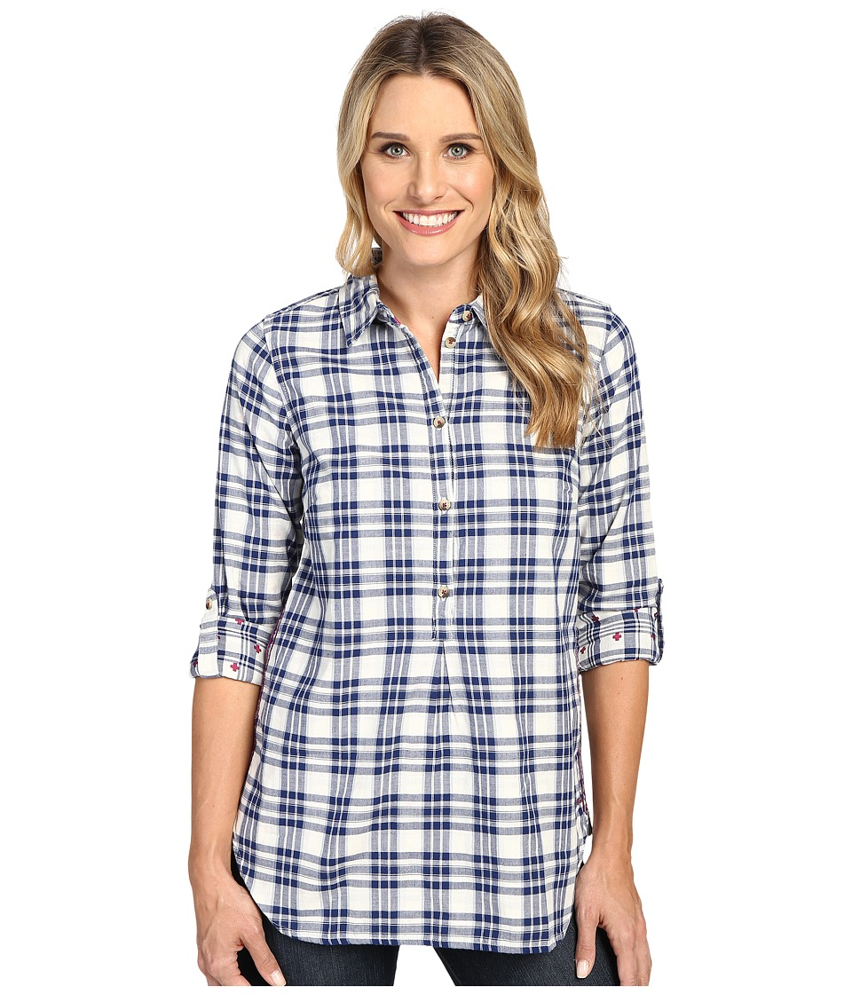 Hatley - Bonded Plaid Pop Over Shirt (Cream/Navy) Women's Clothing