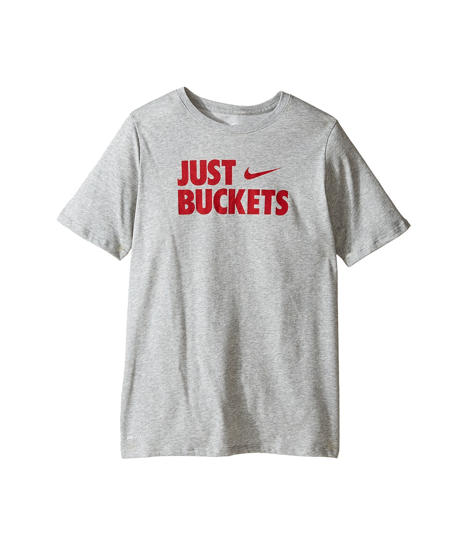 Nike Kids - Just Buckets Tee (Little Kids/Big Kids) (Dark Grey Heather) Boy's T Shirt
