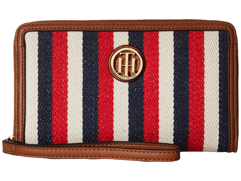 Tommy Hilfiger - TH Serif Signature - Carryall Wristlet (Navy/Multi) Wristlet Handbags
