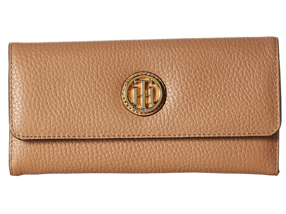 Tommy Hilfiger - TH Serif Signature - Large Flap Wallet (Sand) Wallet Handbags