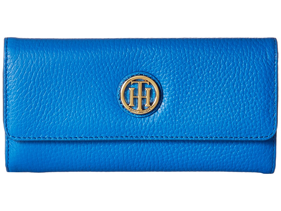 Tommy Hilfiger - TH Serif Signature - Large Flap Wallet (Bright Midnight) Wallet Handbags