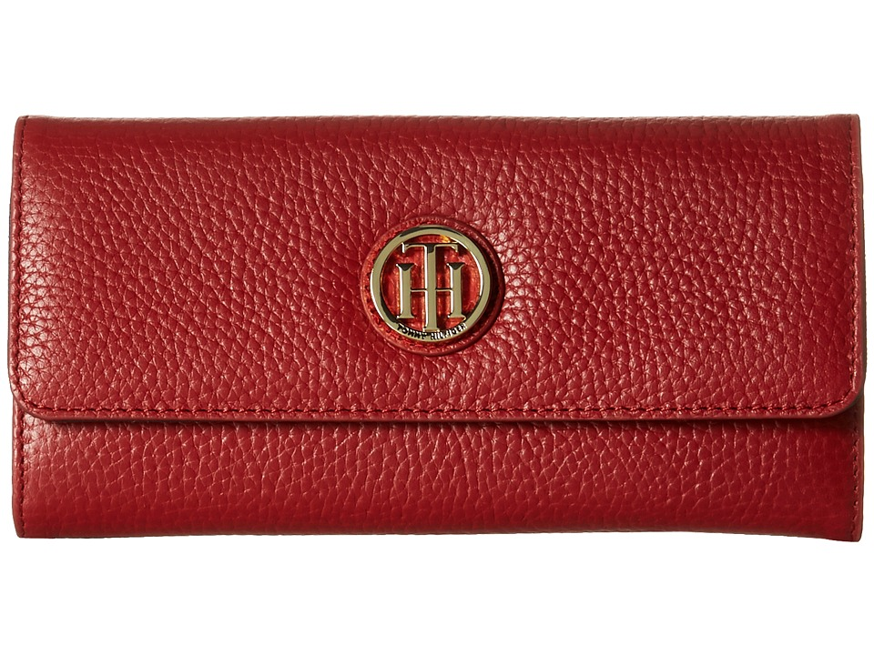Tommy Hilfiger - TH Serif Signature - Large Flap Wallet (Tommy Red) Wallet Handbags