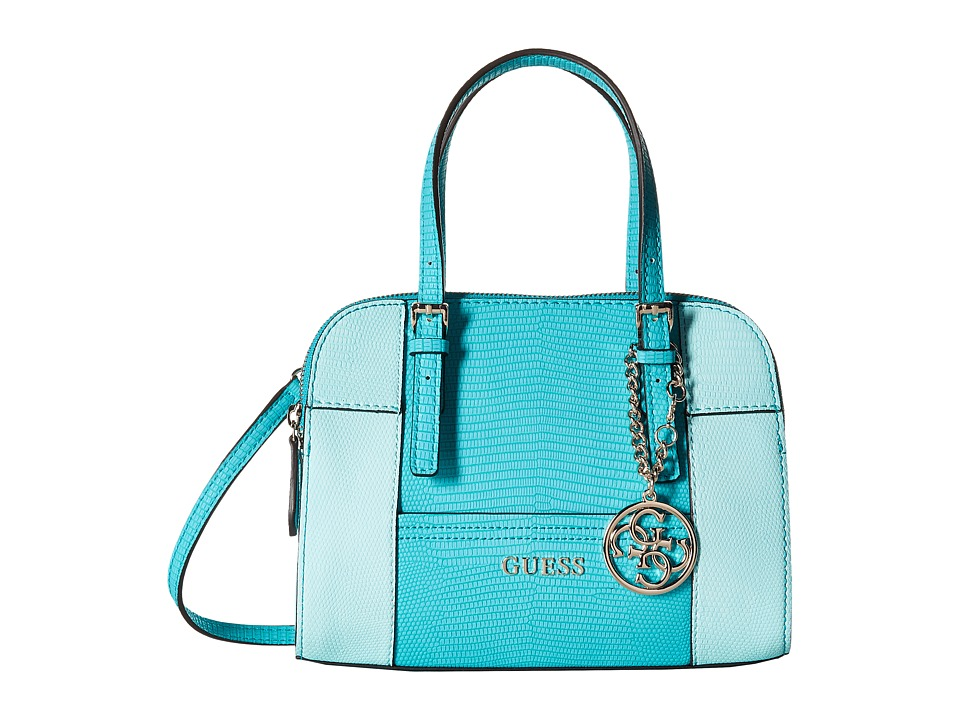 GUESS - Huntley Small Cali Satchel (Turquoise Multi) Satchel Handbags