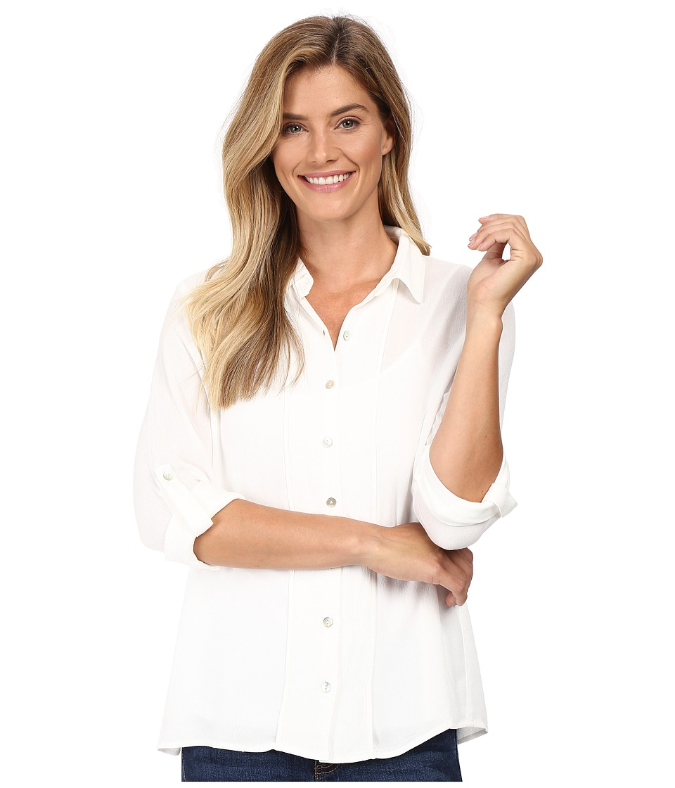 B Collection by Bobeau - Vala Button Front Blouse (White) Women's Blouse