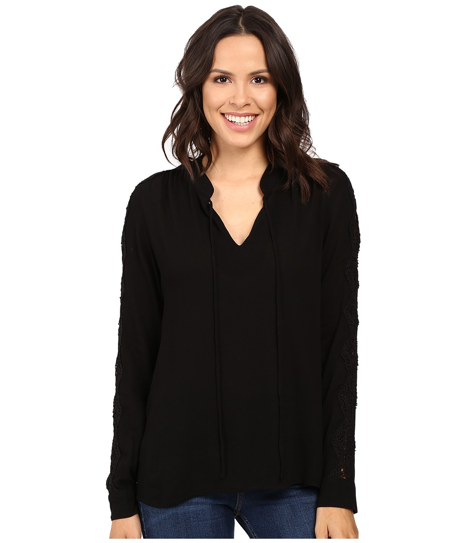 B Collection by Bobeau Amelia Tie Neck Woven Blouse (Black) Women