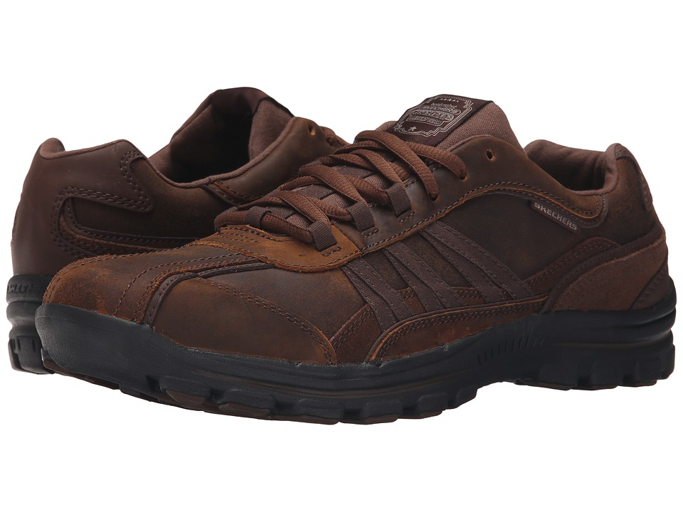 SKECHERS - Relaxed Fit Braver - Nostic (Dark Brown Leather) Men's Shoes