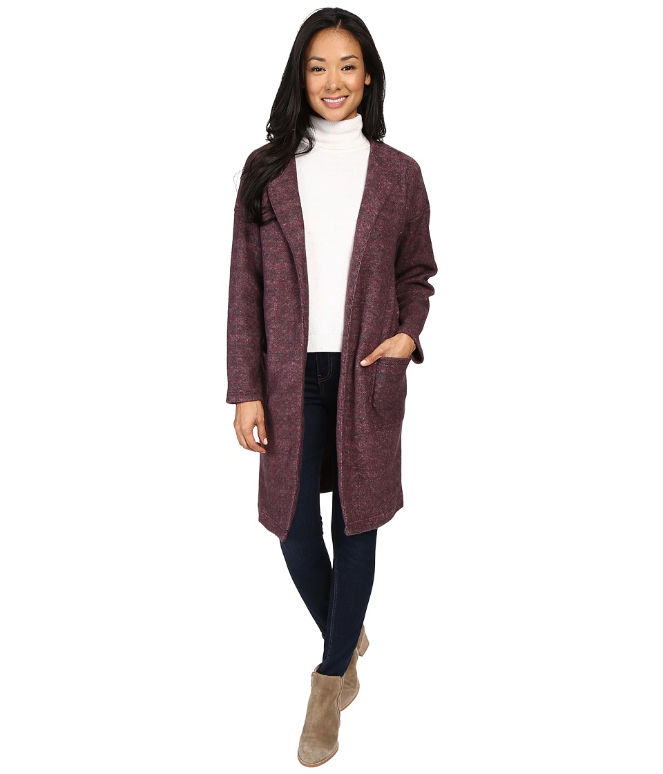 B Collection by Bobeau - Rowen Brushed Fleece Jacket (Burgundy) Women's Jacket