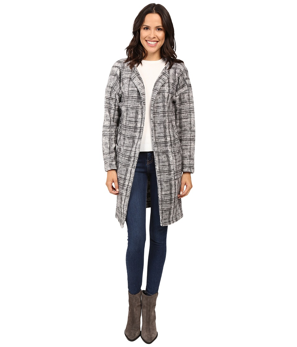 B Collection by Bobeau - Rowen Brushed Fleece Jacket (Black/White Plaid) Women's Jacket