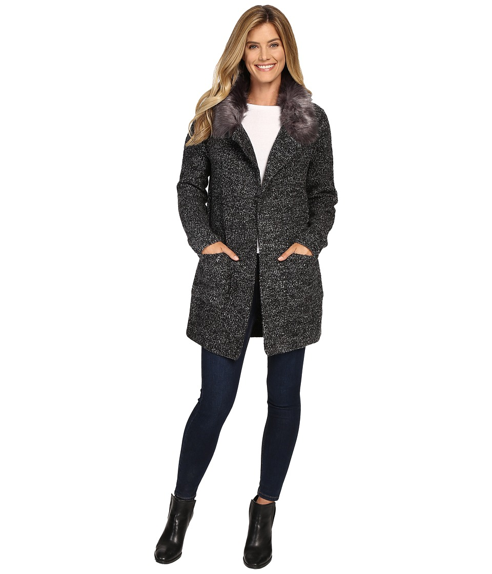B Collection by Bobeau - Hanne Sweater w/ Faux Fur Collar (Charcoal Grey) Women's Sweater