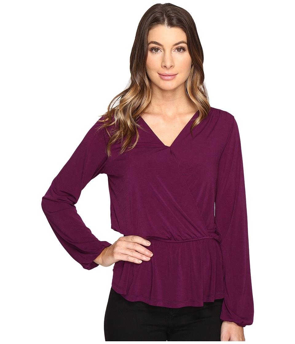 B Collection by Bobeau - Bella Side Tie Knit Blouse (Plum) Women's Blouse