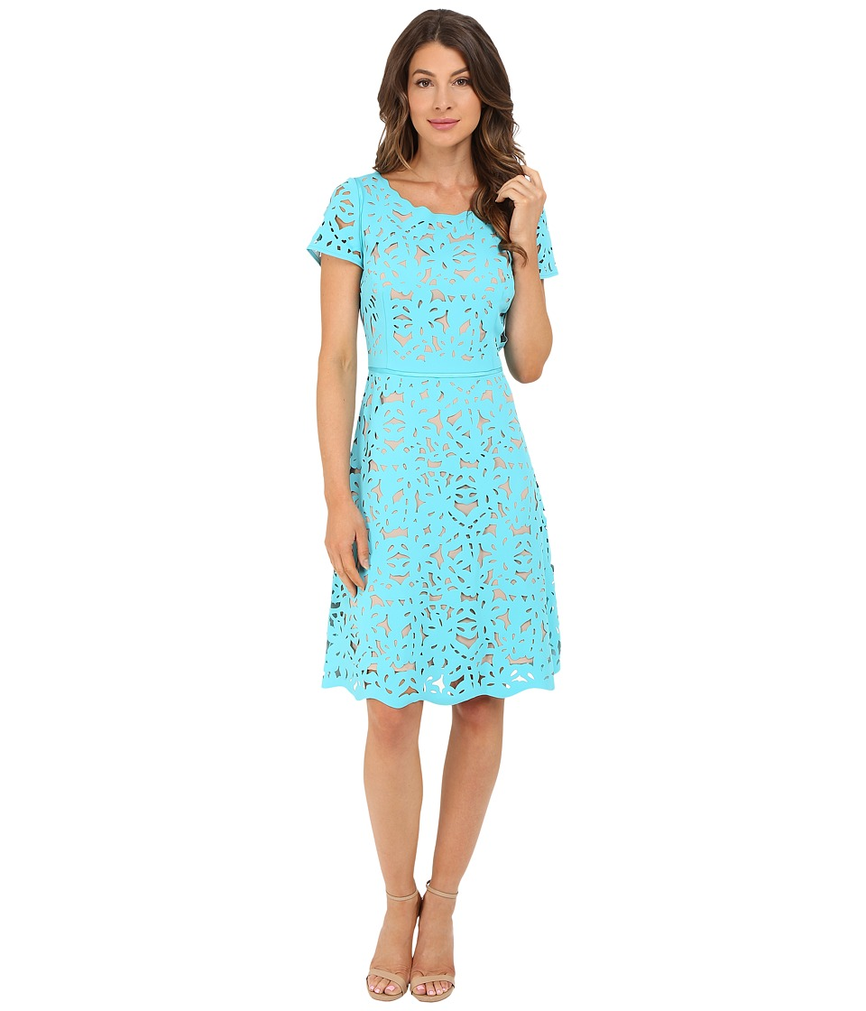 NUE by Shani Laser Cutting Fit and Flare Dress (Turquoise/Nude) Women