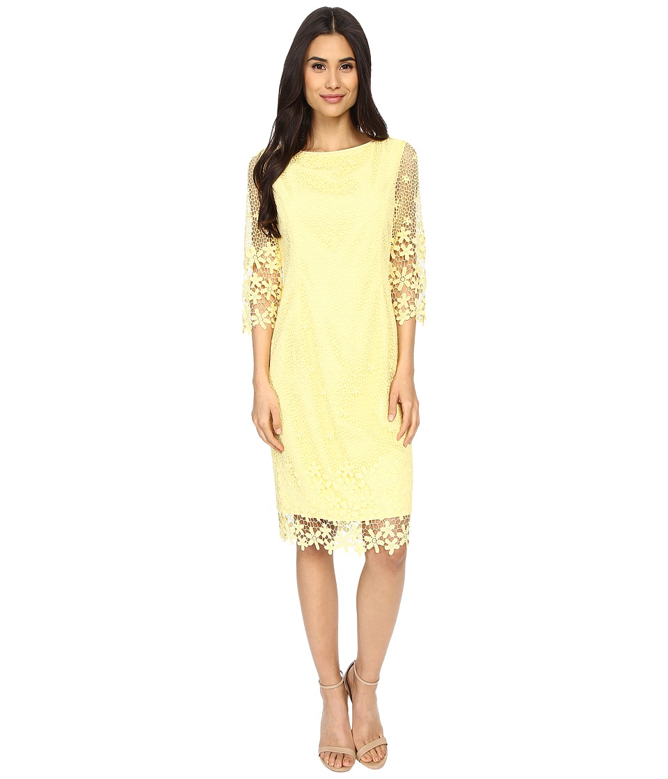 NUE by Shani Summer Lace Dress with Crochet-Like Florals on Hem (Butter) Women