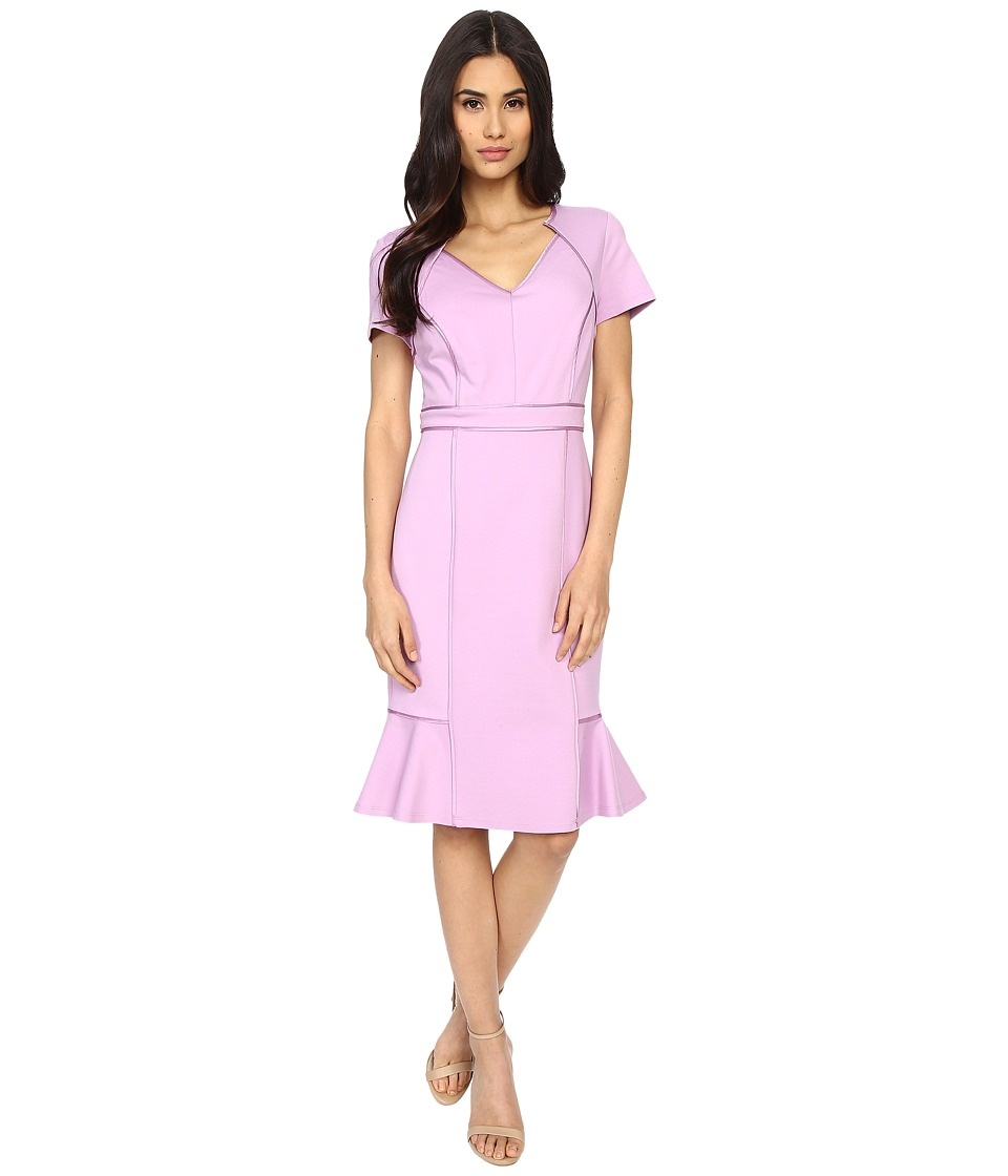 NUE by Shani V-Neck Ponte Knit Dress with Side Flounce (Lilac) Women