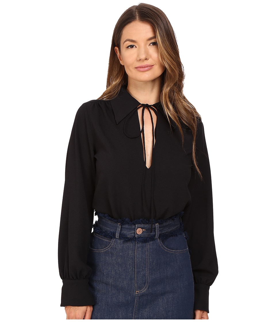 See by Chloe - Embellished Crepe Long Sleeve Blouse (Dark Night) Women's Blouse