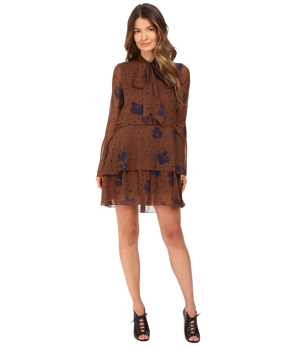 See by Chloe - Leopard Spot Tie Neck Dress (Coffee) Women's Dress