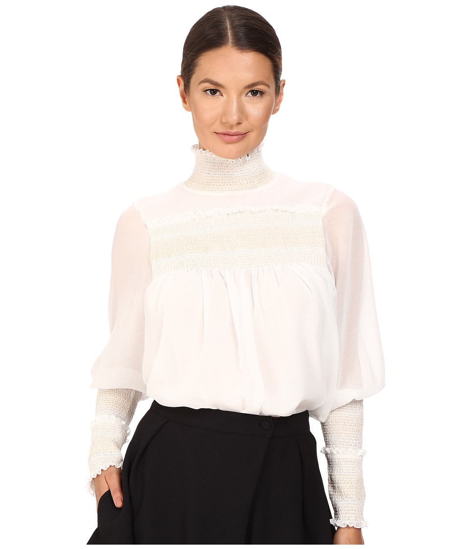 See by Chloe - High Neck Georgette Blouse (Natural White) Women's Blouse