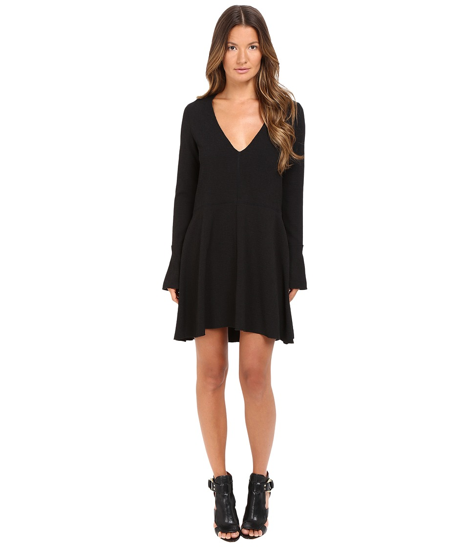 See by Chloe Textured Jacquard Long Sleeve Dress (Black) Women