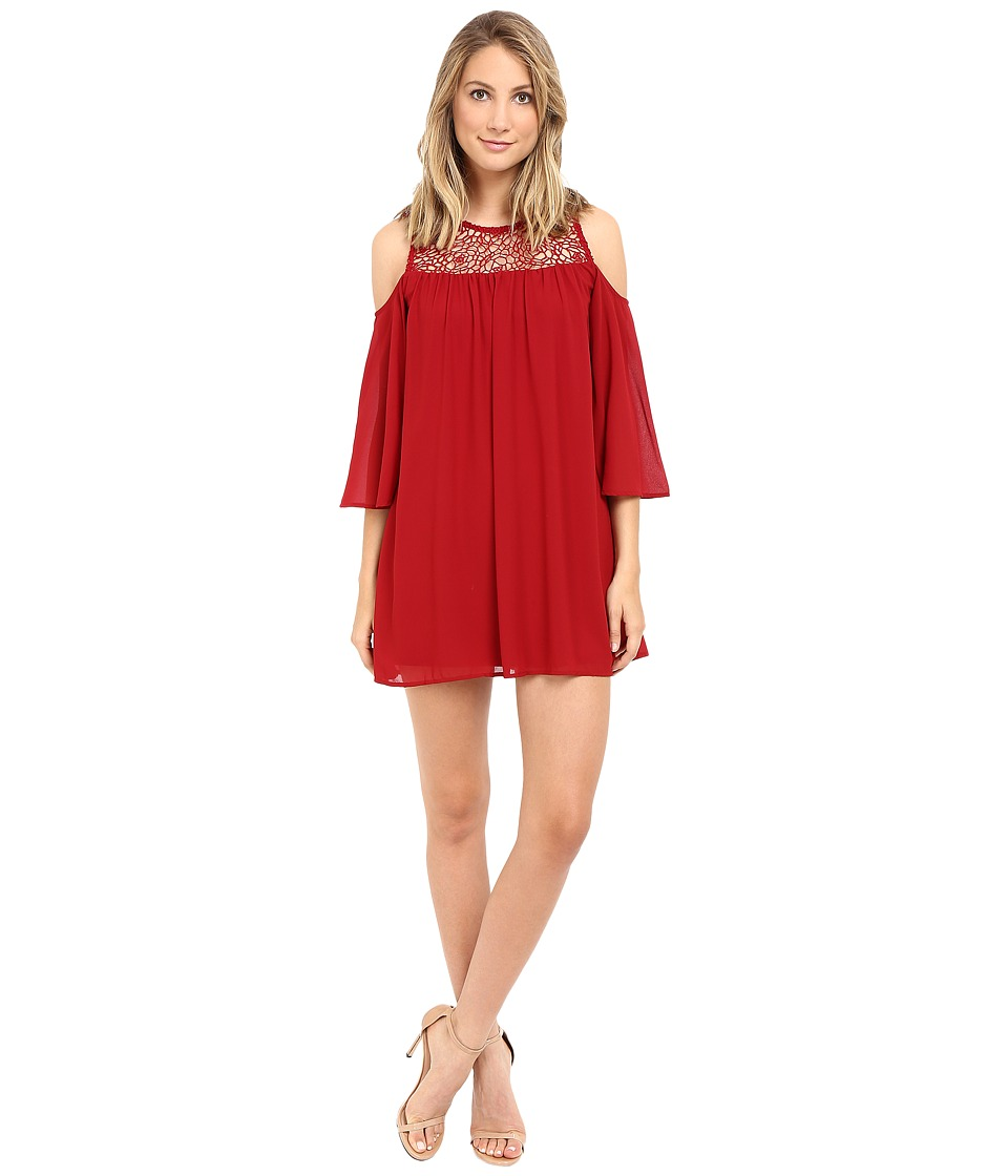 Brigitte Bailey - Crochet Cold Shoulder Dress (Red Dahlia) Women's Dress