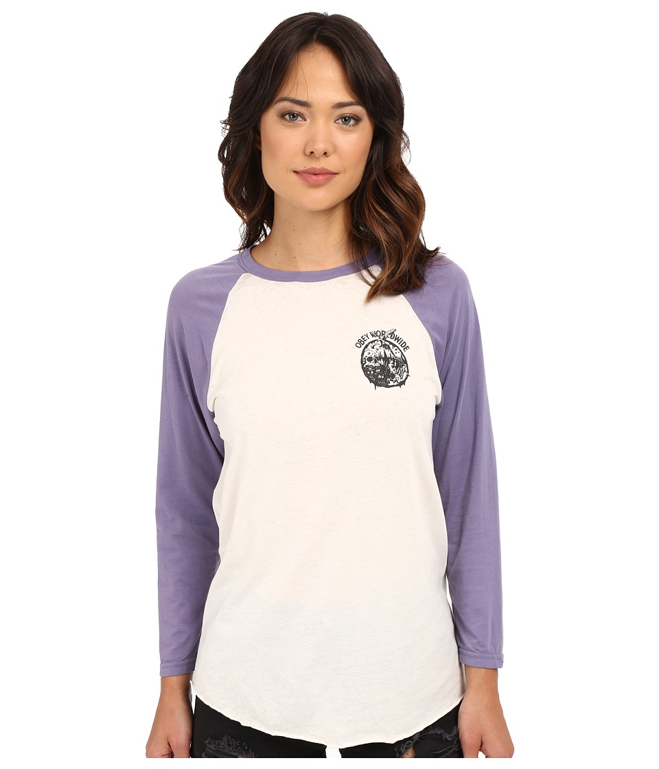 Obey - Paint Spill Tee (Creme/Blue Violet) Women's T Shirt