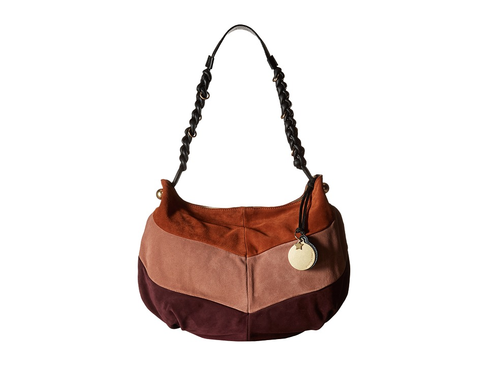 See by Chloe - Maddie Hobo Multicolor Suede and Cowhide Leather (Grape) Hobo Handbags