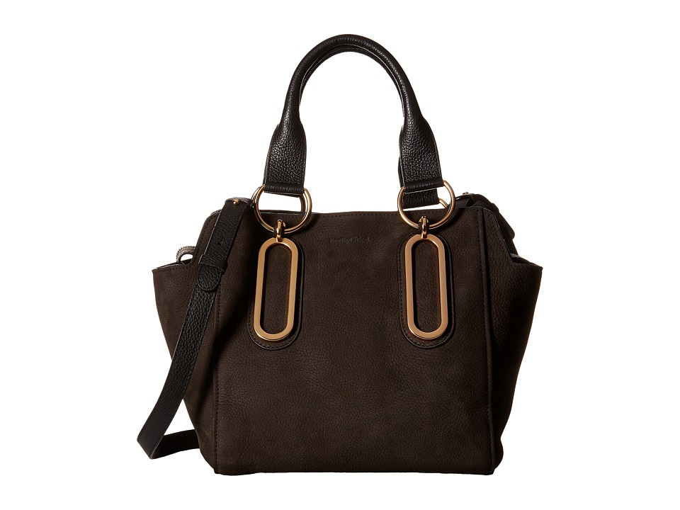 See by Chloe - Paige Shoulder Bag in Grained Nubuck (Graphite) Satchel Handbags