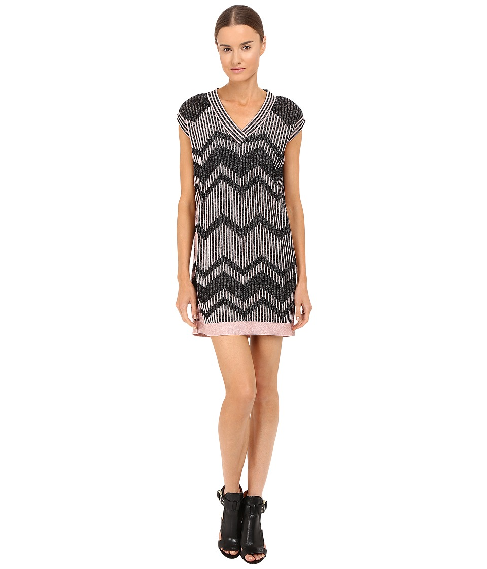 M Missoni Bicolor Mesh V-Neck Dress