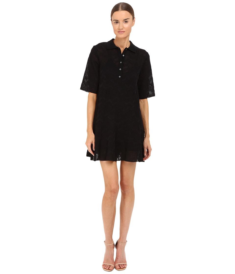 M Missoni - Solid Fancy Knit Button Dress (Black) Women's Dress