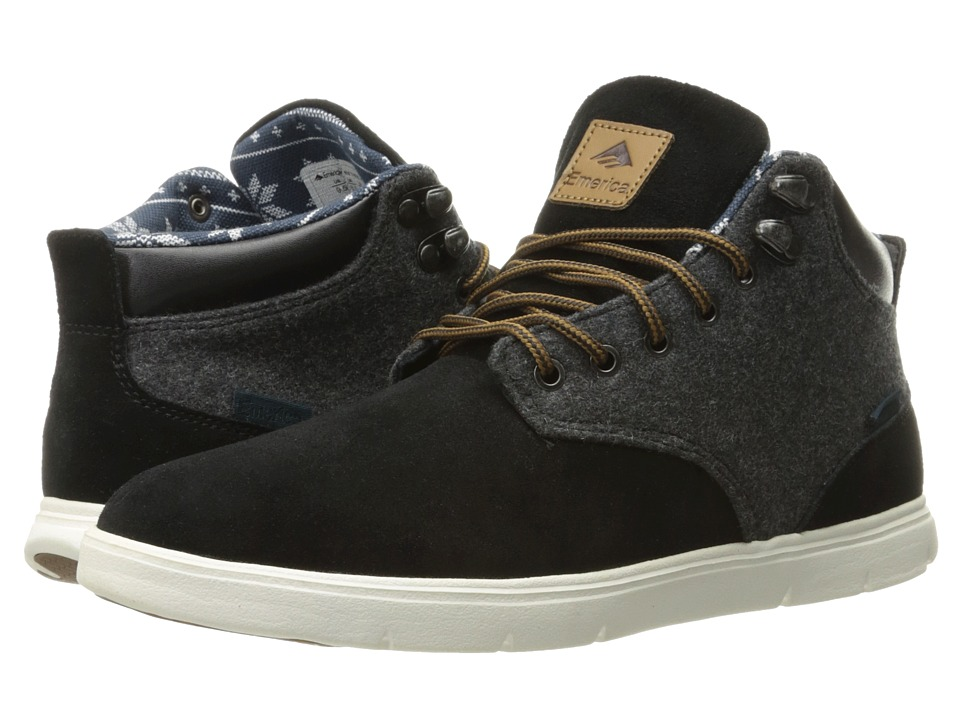 Emerica - Wino Hi LT (Black/White/Yellow) Men's Skate Shoes