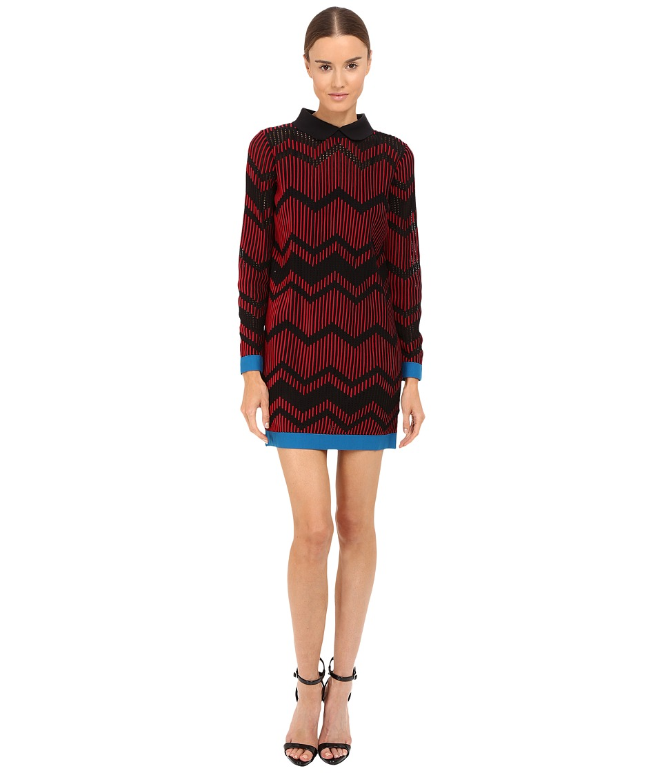 M Missoni Bicolor Mesh Long Sleeve Zigzag Dress (Rasberry) Women
