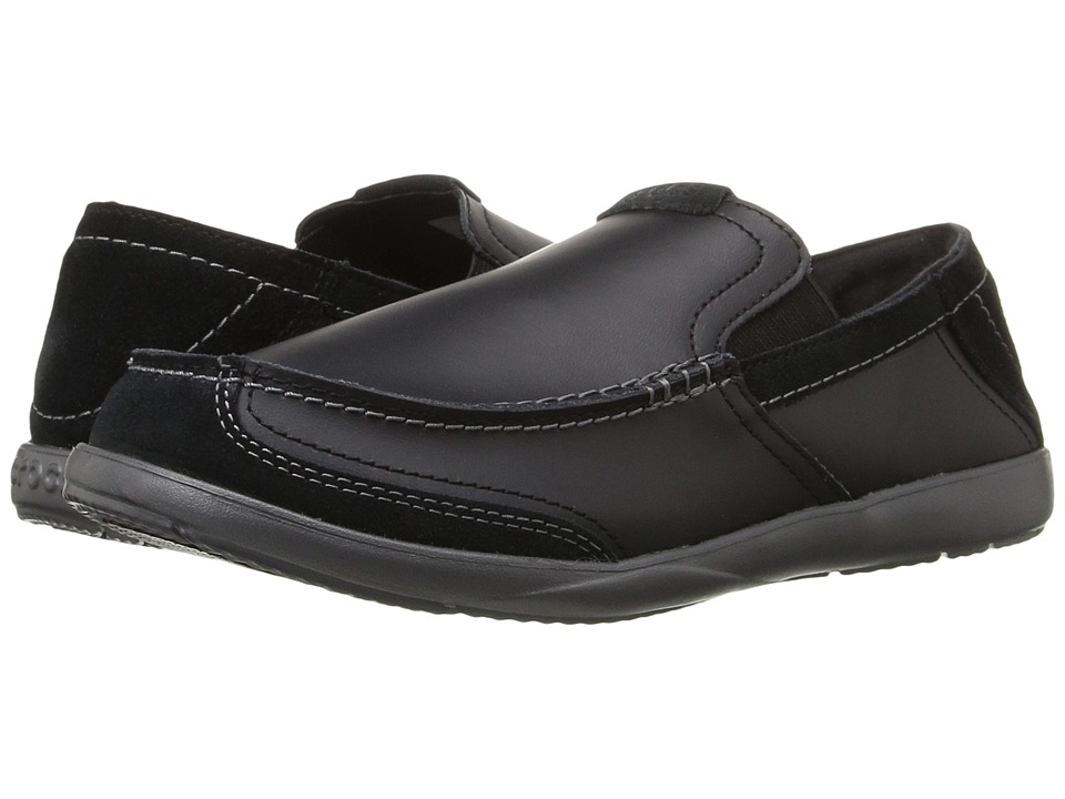 Crocs Walu Luxe Leather Loafer (Black/Black) Men