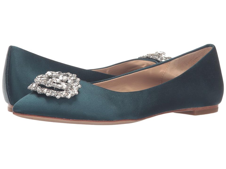 Badgley Mischka - Davis (Dark Teal Satin) Women's Flat Shoes