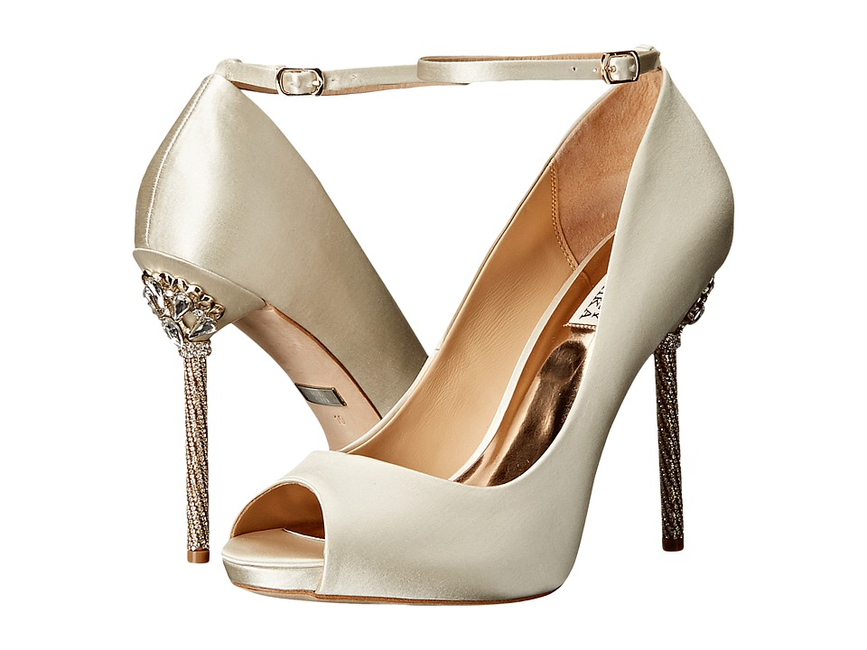 Badgley Mischka - Diego (Ivory Satin) Women's Toe Open Shoes