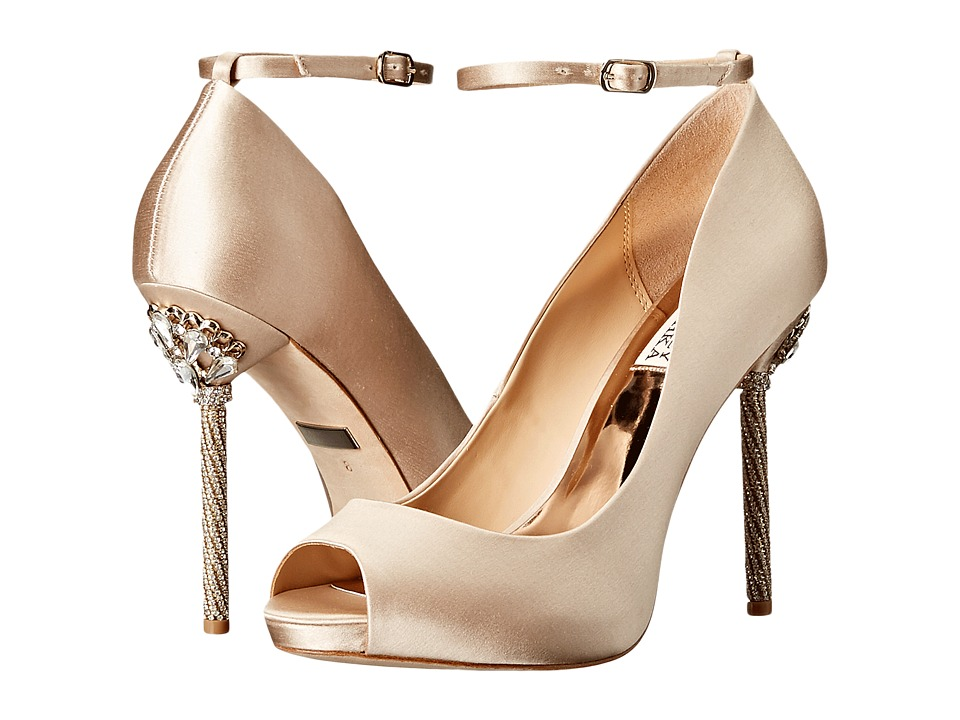 Badgley Mischka - Diego (Nude Satin) Women's Toe Open Shoes
