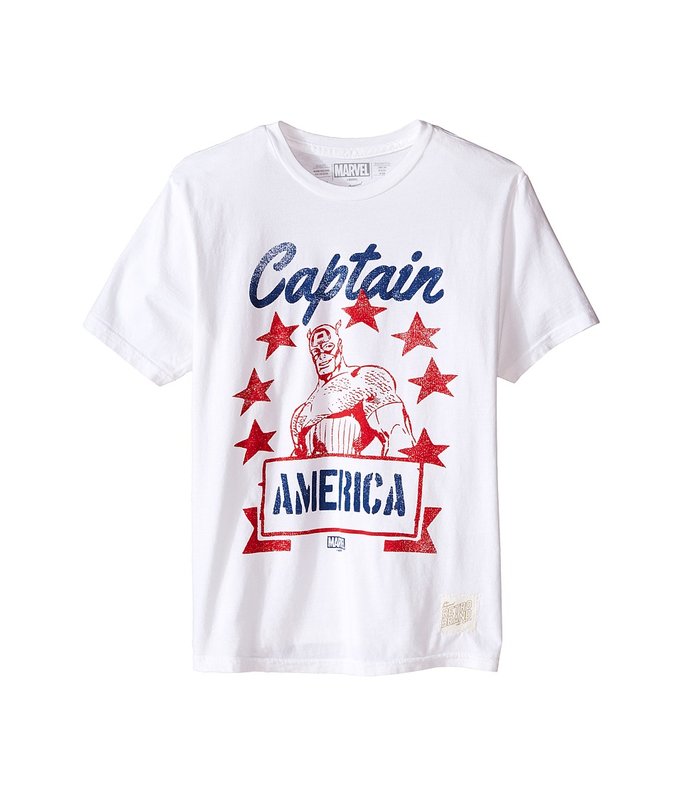 The Original Retro Brand Kids - Captain America Short Sleeve Vintage Cotton Tee (Little Kids/Big Kids) (White) Boy