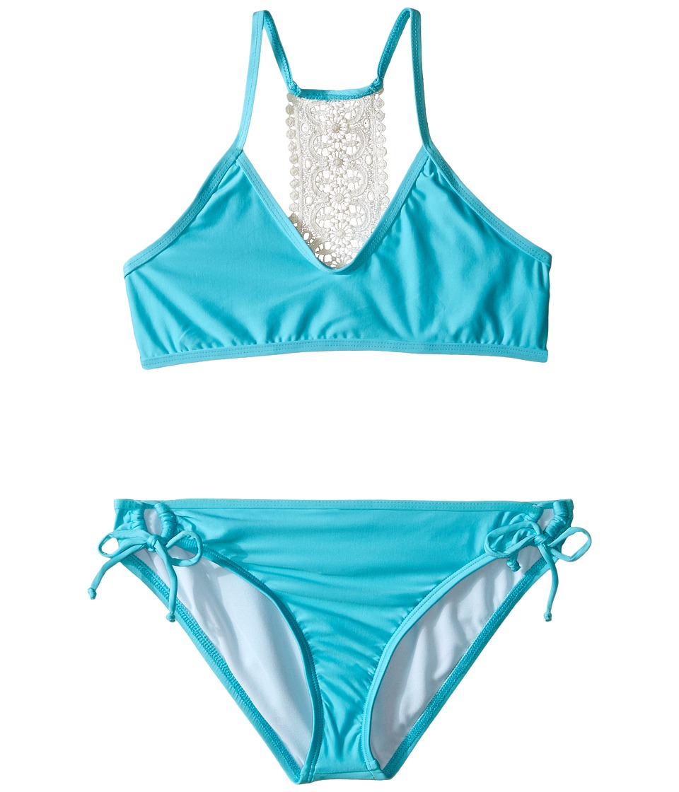 Ella Moss Girl - Stella Bralette Top and Tunnel Pant Bottoms (Big Kids) (Aqua) Girl's Swimwear Sets