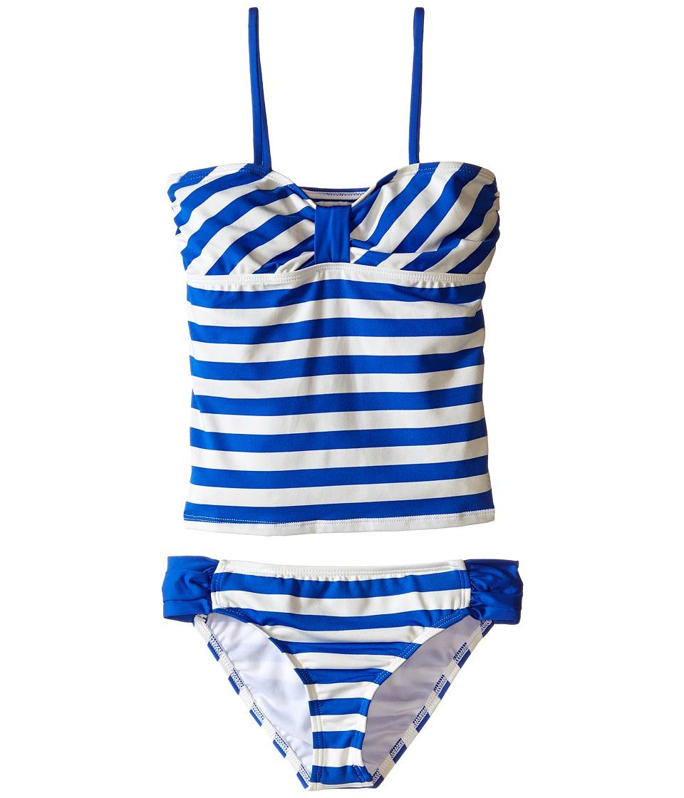Ella Moss Girl - Cabana Bandini Top and Tab Side Bottoms (Big Kids) (Blue) Girl's Swimwear Sets