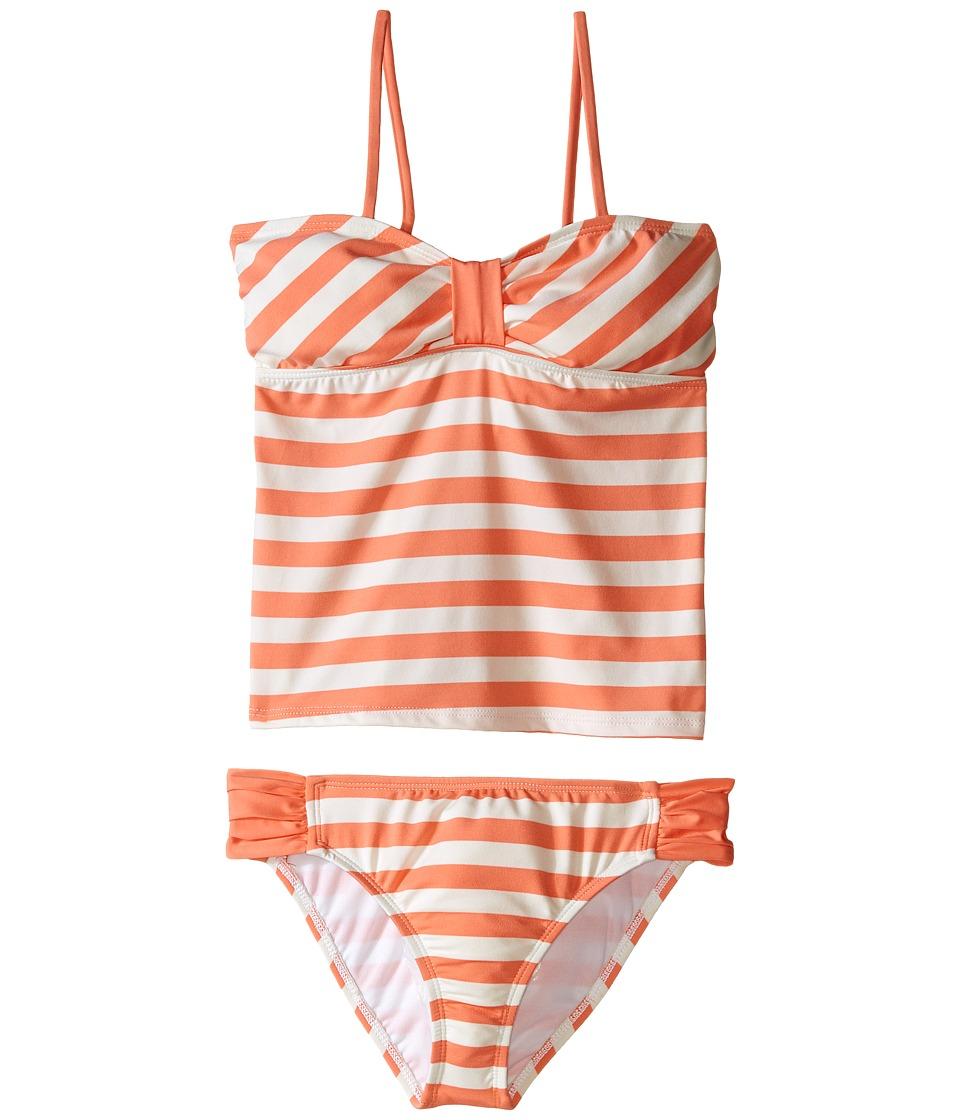 Ella Moss Girl - Cabana Bandini Top and Tab Side Bottoms (Big Kids) (Orange) Girl's Swimwear Sets