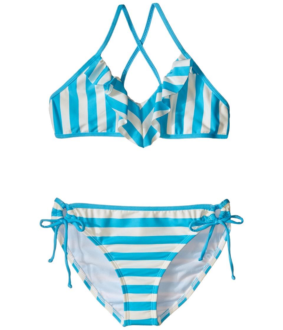 Ella Moss Girl - Cabana Crop Top and Tunnel Pants (Big Kids) (Aqua) Girl's Swimwear Sets