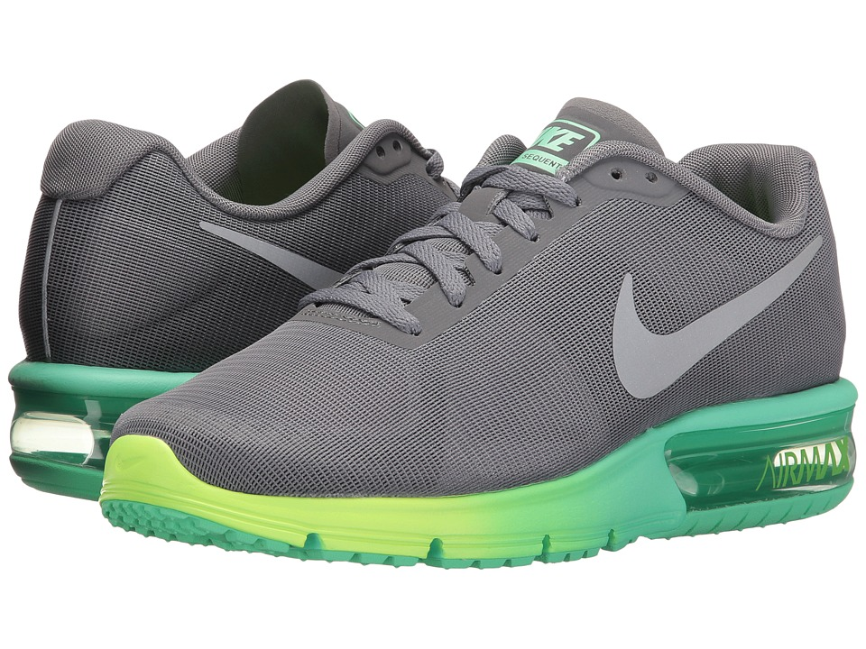 Nike - Air Max Sequent (Clear Grey/Metallic Silver/Green Glow/Ghost Green) Women's Running Shoes
