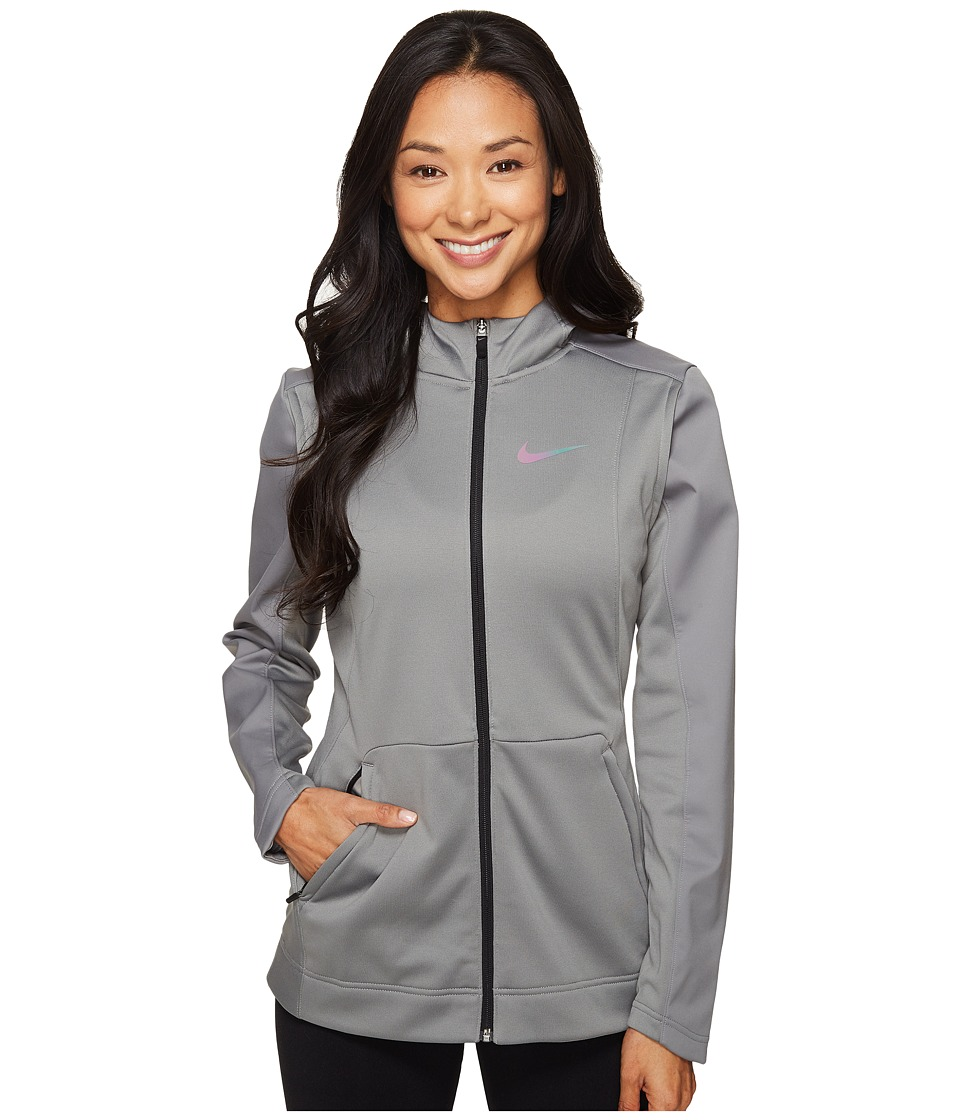 Nike - Therma Hyper Elite Hoodie (Dark Grey Heather/Black/Iridescent) Women's Sweatshirt