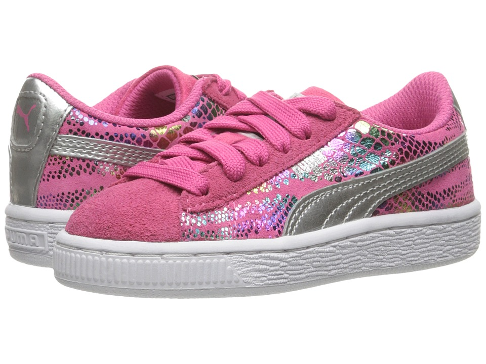 Puma Kids - Suede Sportlux (Little Kid/Big Kid) (Fandango Pink/Puma Silver) Girls Shoes