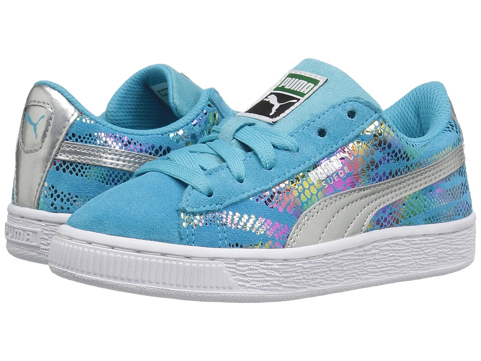 Puma Kids - Suede Sportlux (Little Kid/Big Kid) (Blue Atoll/Puma Silver) Girls Shoes