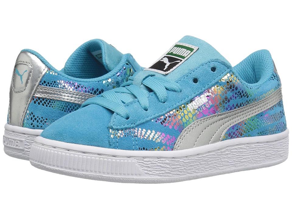 Puma Kids Suede Sportlux (Little Kid/Big Kid) (Blue Atoll/Puma Silver) Girls Shoes